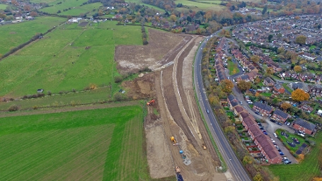 2017 Aerial view of Tull Way Flood Alleviation Scheme, Thatcham