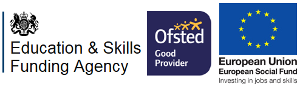 Education and Skills Funding Agency, European Social Fund and Ofsted Good Provider joint logos