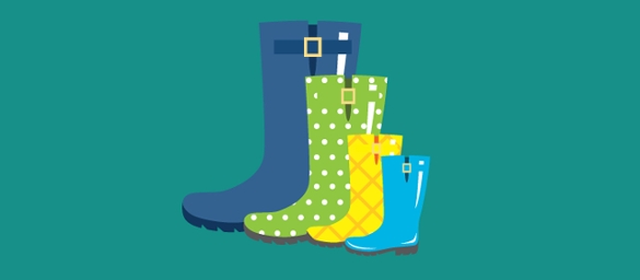 CFS graphic - Four different sized wellies (large) Displays a larger version of this image in a new browser window