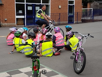 2017 - Young cyclists on the Bikeability training course