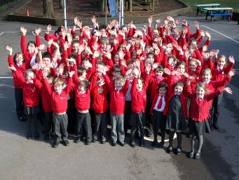 2017 - Children from Inkpen Primary School celebrating their 'good' Ofsted report