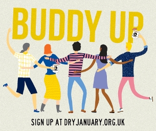 Dry January 2017 Buddy up and beat the booze graphic