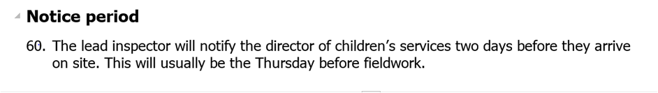 Children's Services Improvement Blog - Ofsted Notice Period