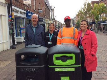 2019 Launch of recycling litter bins in Newbury town centre