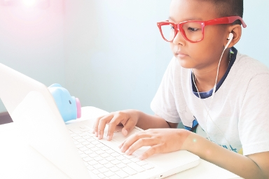 2020 Stock Image Child learning on computer