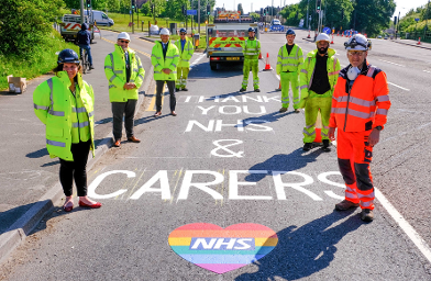 Road markings - Thank you NHS & Carers